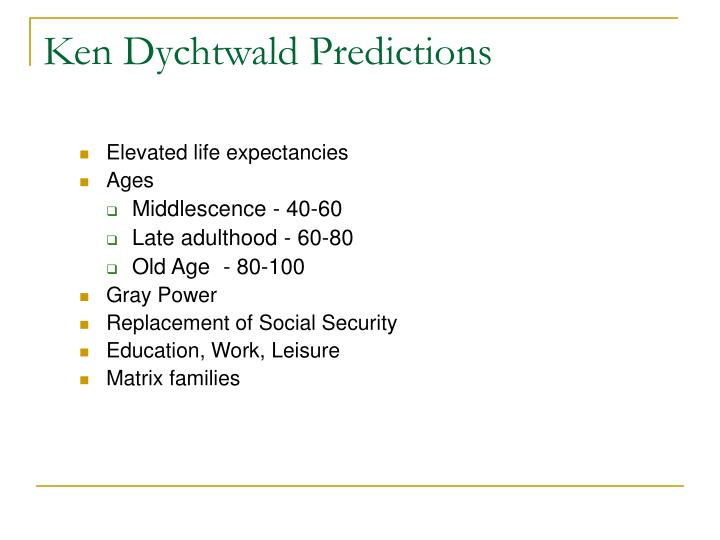 Ken Dychtwald Predictions