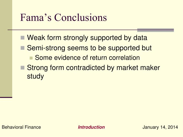Fama's Conclusions