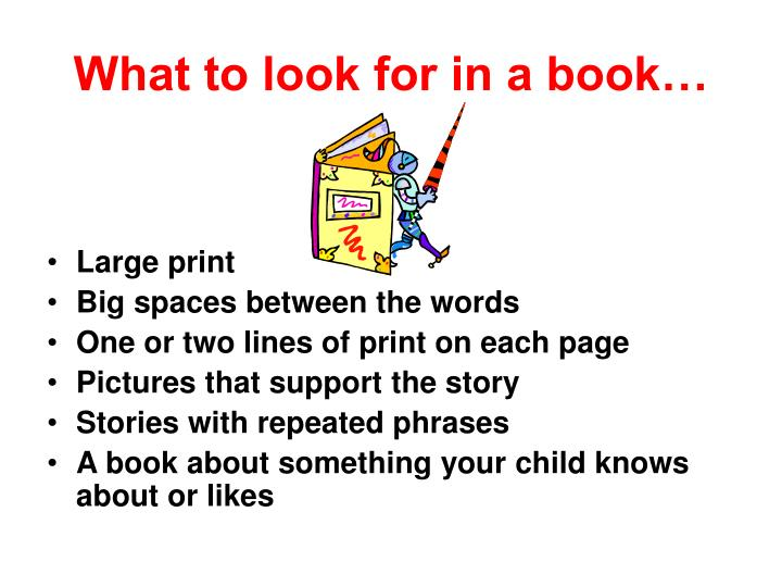 What to look for in a book…