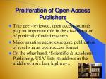 proliferation of open access p ublishers
