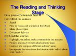 the reading and thinking stage