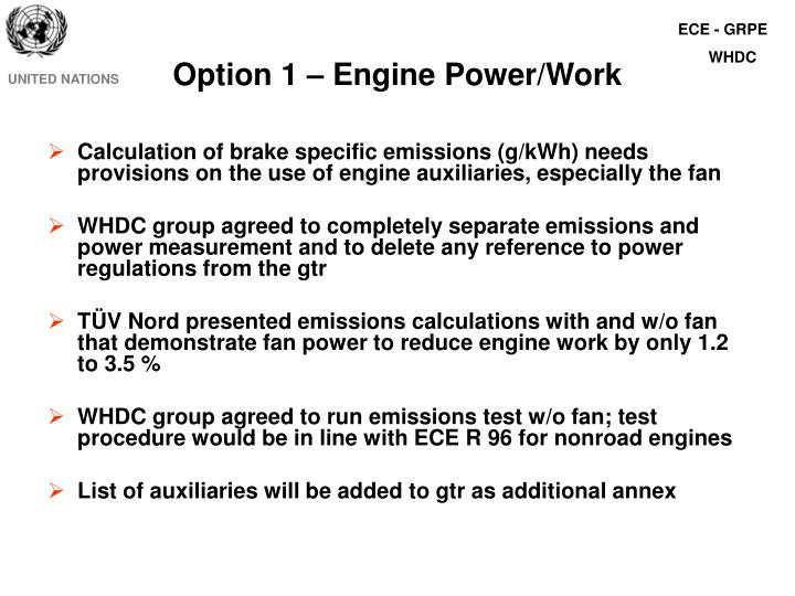 Option 1 engine power work