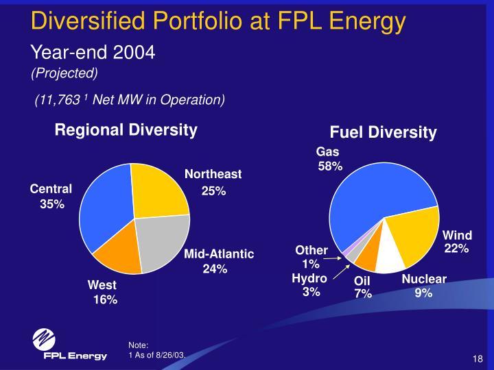 Diversified Portfolio at FPL Energy