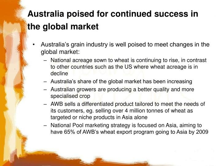 Australia poised for continued success in the global market