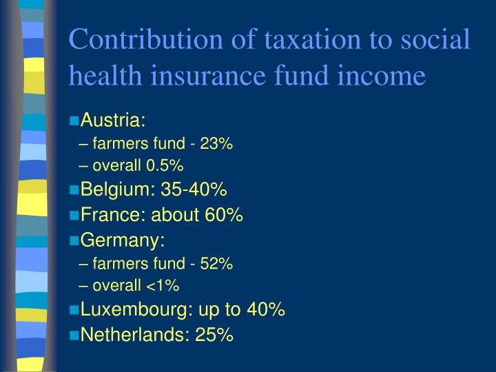 Contribution of taxation to social health insurance fund income