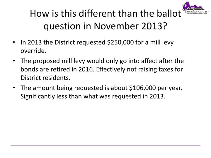 How is this different than the ballot question in November 2013?