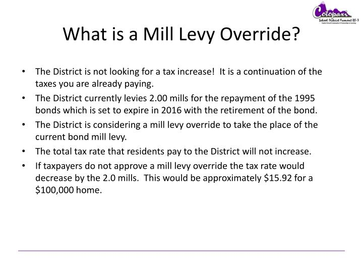 What is a Mill Levy Override?