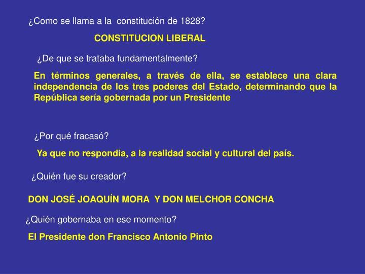 ¿Como se llama a la  constitución de 1828?