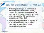 gains from division of labor the finnish case