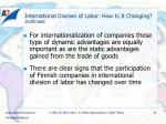 international division of labor how is it changing continued