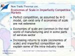 new trade theories cont economies of scale in imperfectly competitive markets