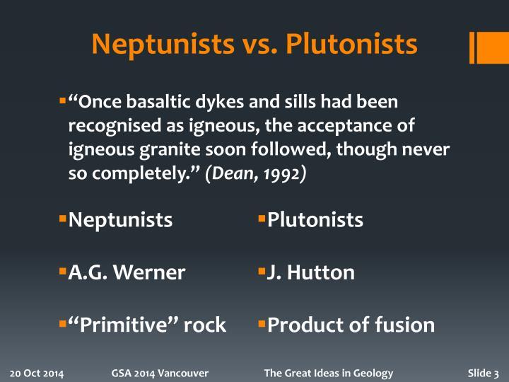 Neptunists vs plutonists