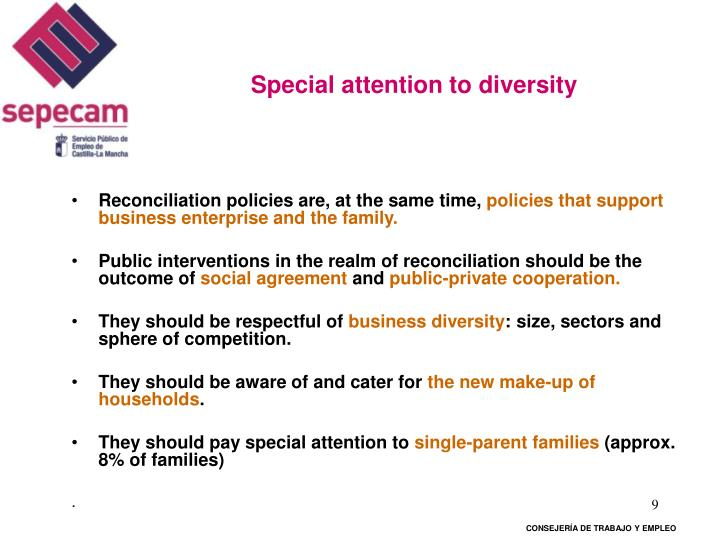 Special attention to diversity