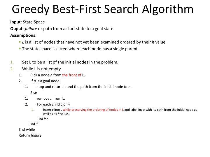 Greedy Best-First Search Algorithm