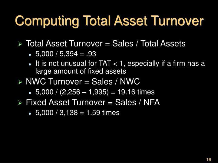 Computing Total Asset Turnover