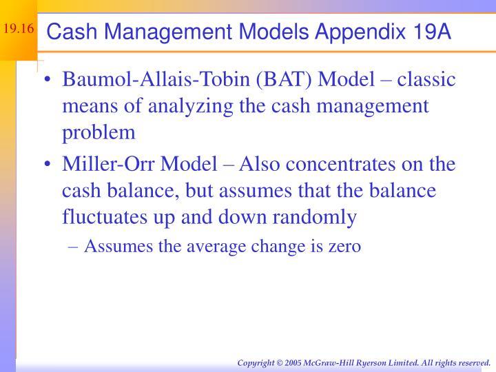 Cash Management Models Appendix 19A