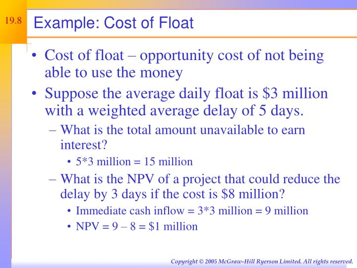 Example: Cost of Float