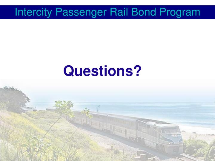 Intercity Passenger Rail Bond Program