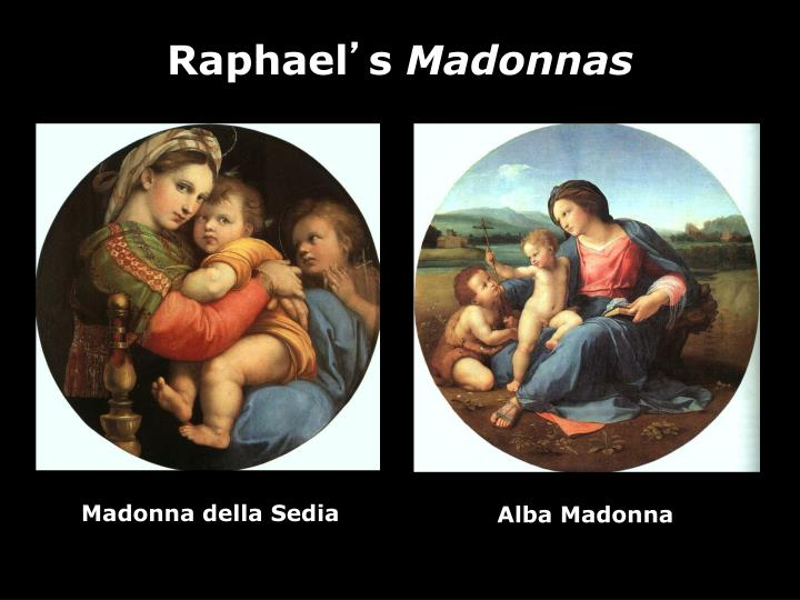 the alba madonna by raphael From national gallery of art, washington, dc, raphael, the alba madonna (ca 1510), oil on panel transferred to canvas, 94 1/2 in diameter.