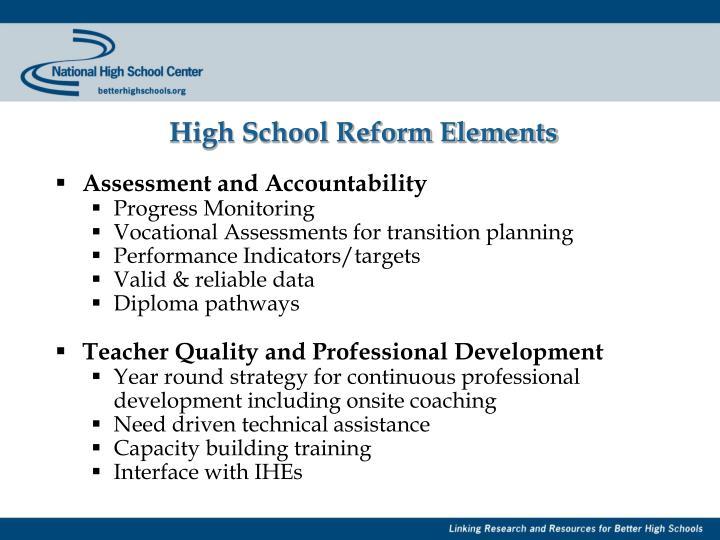High School Reform Elements