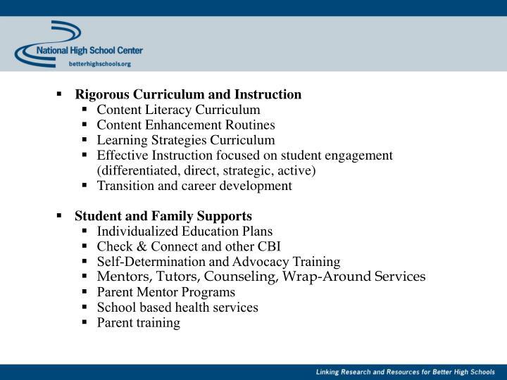 Rigorous Curriculum and Instruction