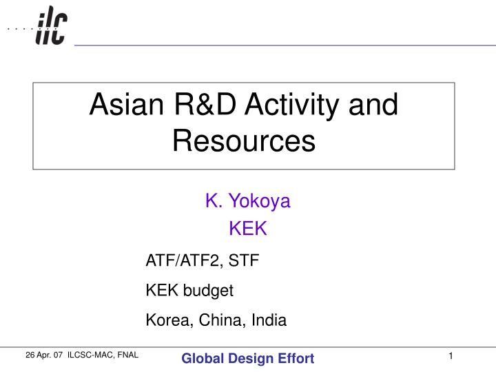 asian r d activity and resources n.