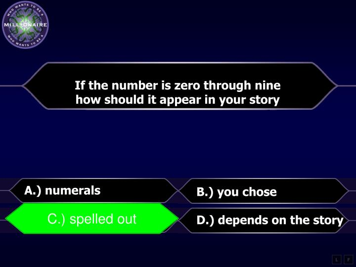 If the number is zero through nine