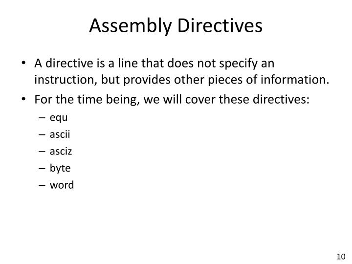 Assembly Directives