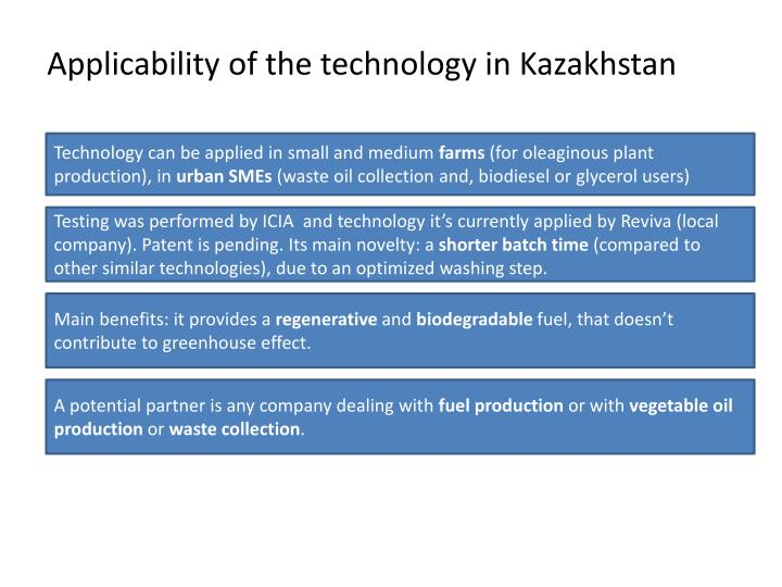 Applicability of the technology in kazakhstan