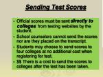sending test s cores