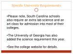 specific university requirements