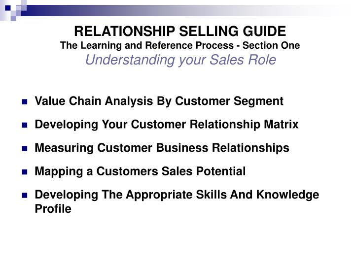 RELATIONSHIP SELLING GUIDE