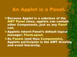 an applet is a panel