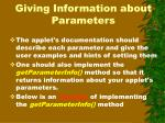giving information about parameters