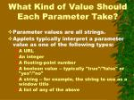 what kind of value should each parameter take