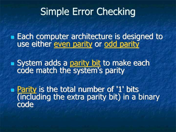 Simple Error Checking