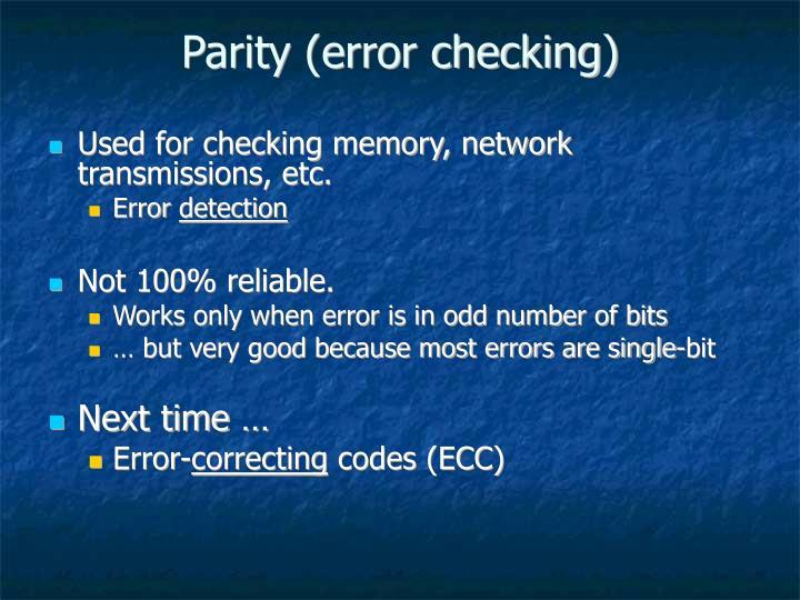 Parity (error checking)