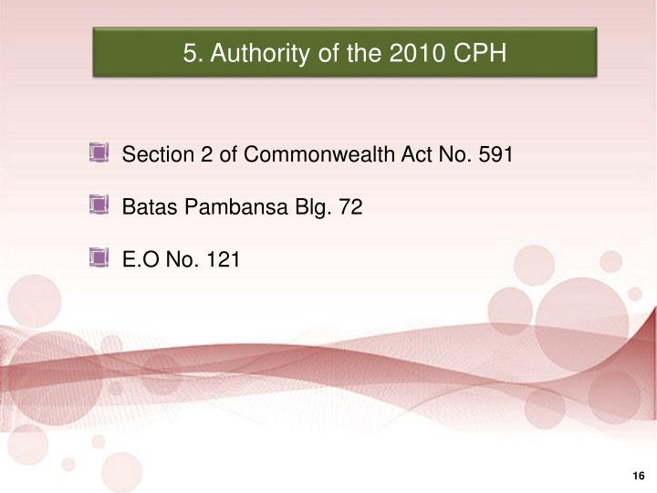 5. Authority of the 2010 CPH