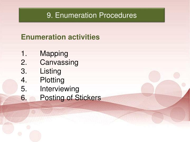 9. Enumeration Procedures