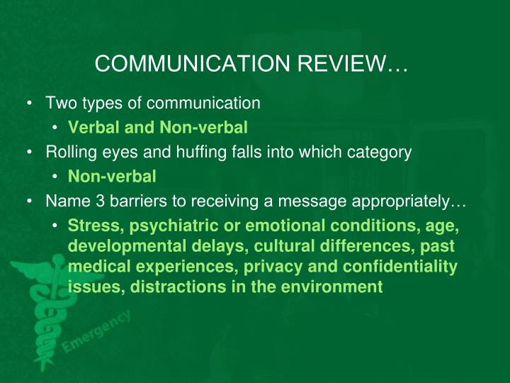 COMMUNICATION REVIEW…