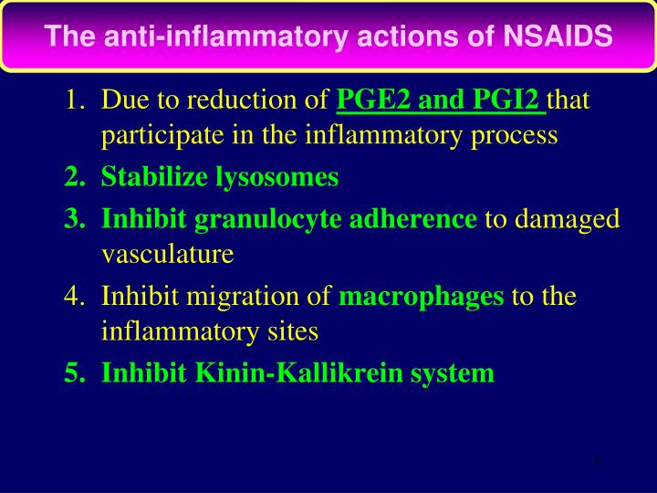 The anti-inflammatory actions of NSAIDS