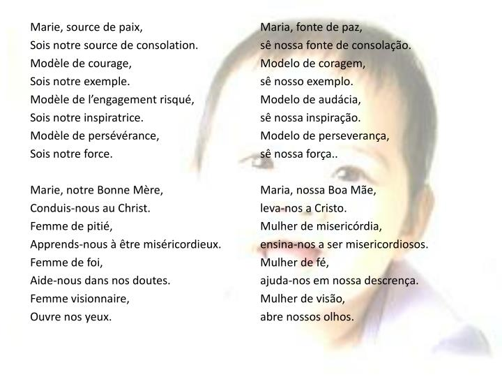 Marie, source de paix,