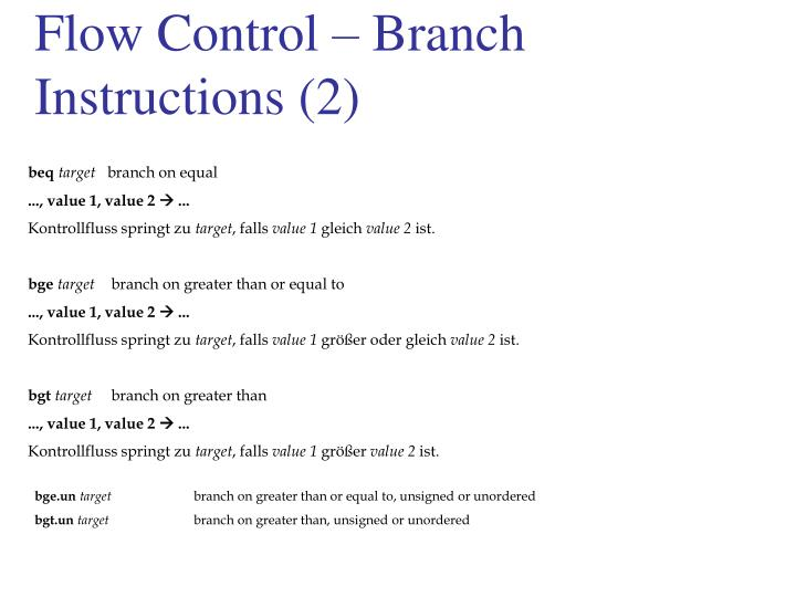 Flow Control – Branch Instructions (2)
