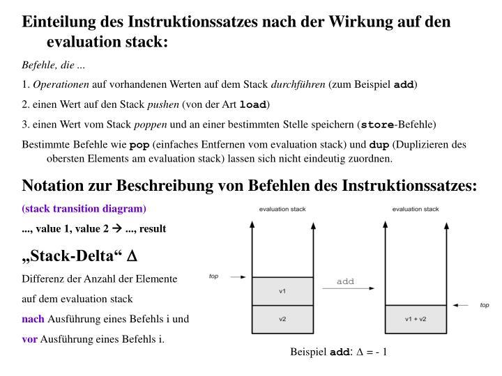 Einteilung des Instruktionssatzes nach der Wirkung auf den evaluation stack: