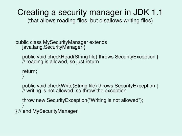 Creating a security manager in JDK 1.1