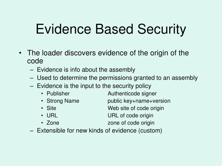 Evidence Based Security