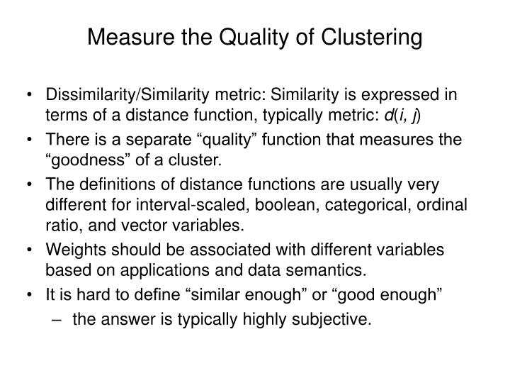 Measure the Quality of Clustering
