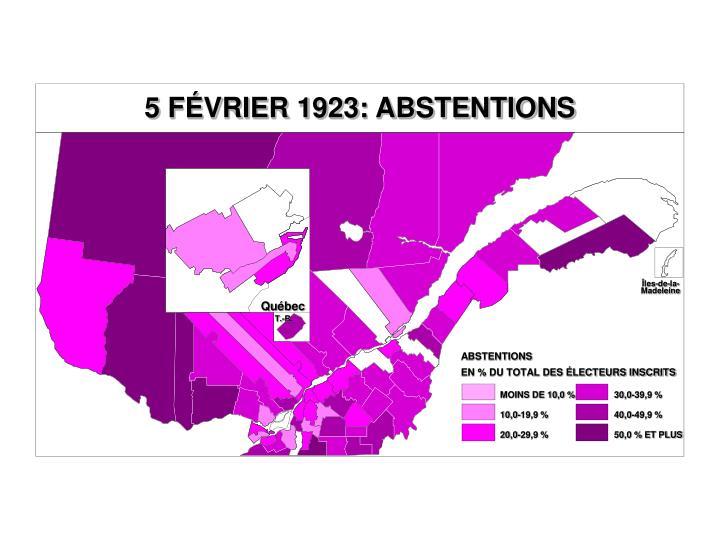 5 FÉVRIER 1923: ABSTENTIONS