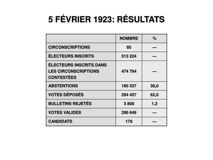 5 FÉVRIER 1923: RÉSULTATS