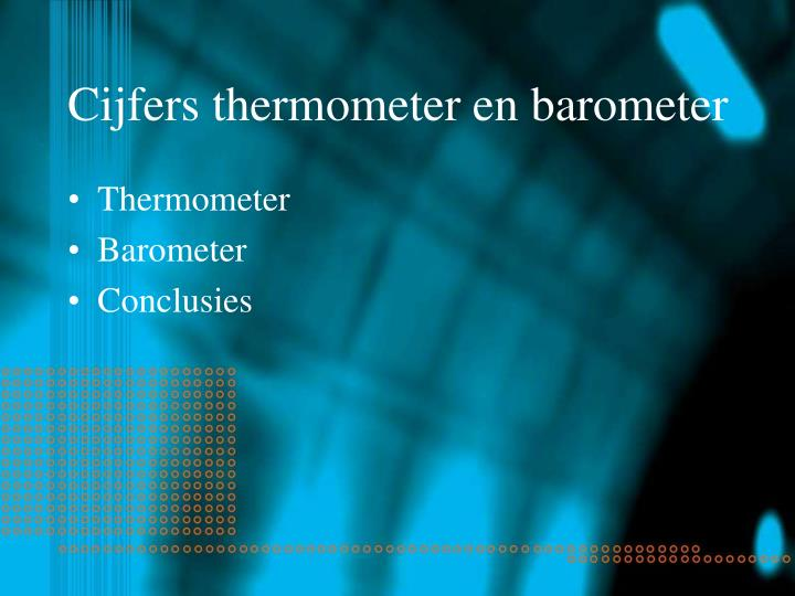 Cijfers thermometer en barometer